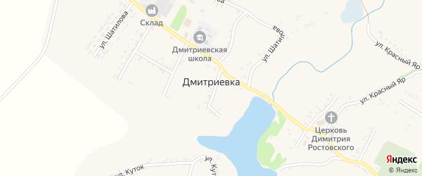 Улица Красный Яр на карте села Дмитриевки с номерами домов
