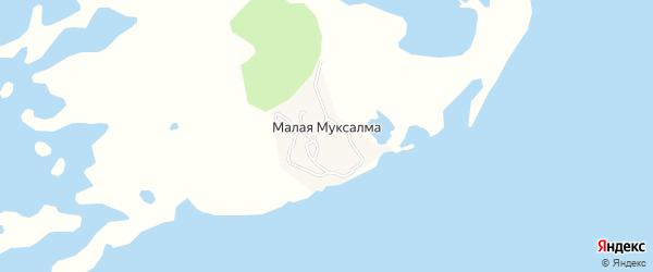 Карта поселка Малой Муксалмы в Архангельской области с улицами и номерами домов