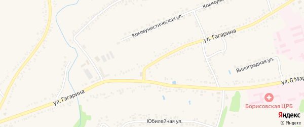 Улица Гагарина на карте поселка Борисовки с номерами домов