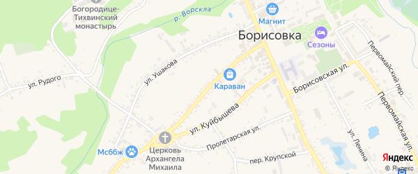 Улица Луначарского на карте поселка Борисовки с номерами домов