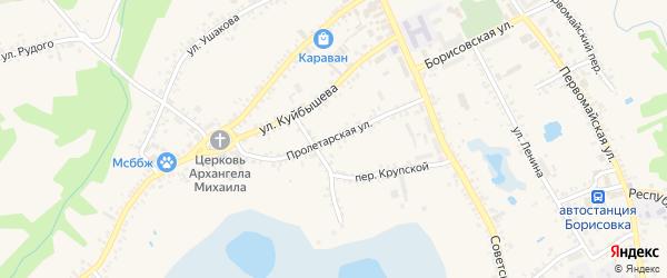 Пролетарская улица на карте поселка Борисовки с номерами домов