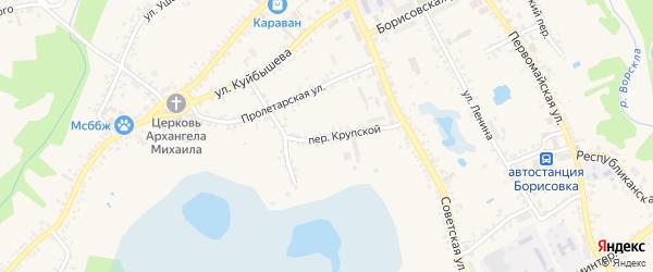 Крупской переулок на карте поселка Борисовки с номерами домов