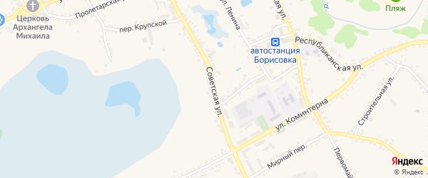 Советская улица на карте поселка Борисовки с номерами домов
