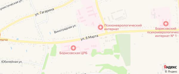 Улица 8 Марта на карте поселка Борисовки с номерами домов