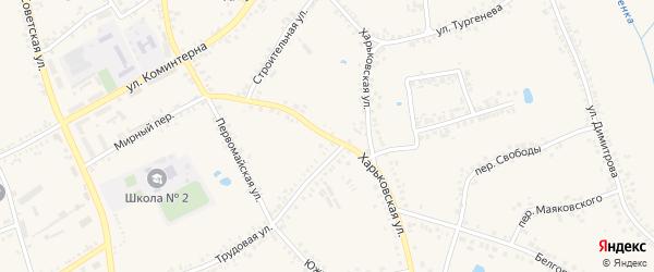 Харьковская улица на карте поселка Борисовки с номерами домов