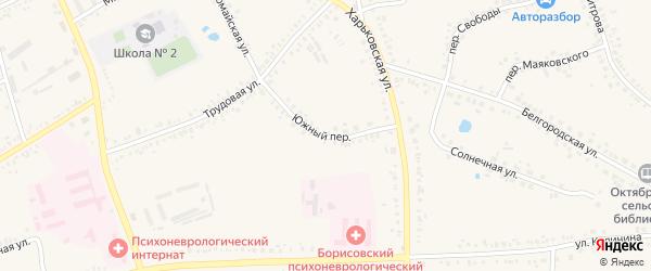 Южный переулок на карте поселка Борисовки с номерами домов
