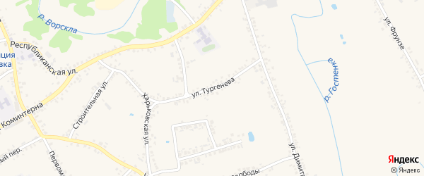 Улица Тургенева на карте поселка Борисовки с номерами домов
