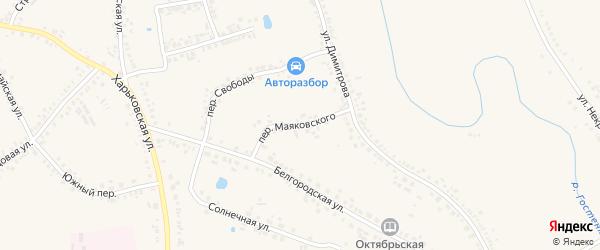 Переулок Маяковского на карте поселка Борисовки с номерами домов