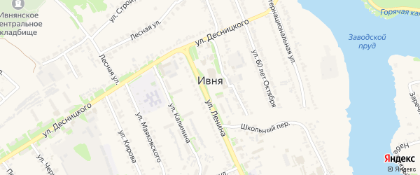 Улица 60 лет Октября на карте поселка Ивни с номерами домов