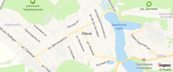 Карта поселка Ивни в Белгородской области с улицами и номерами домов