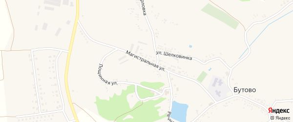 Магистральная улица на карте села Бутово с номерами домов