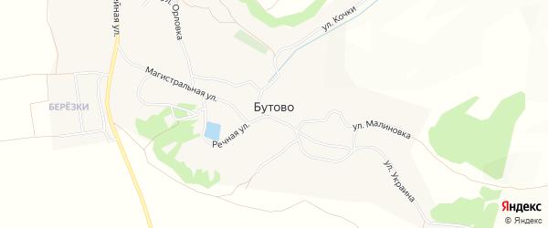 Карта села Бутово в Белгородской области с улицами и номерами домов