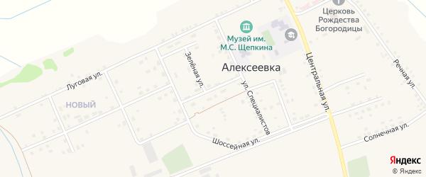 Зеленая улица на карте села Алексеевки с номерами домов