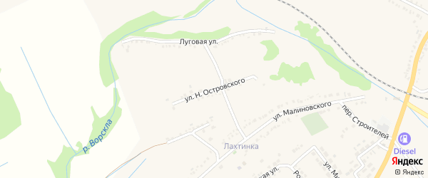 Улица Островского на карте поселка Томаровка с номерами домов