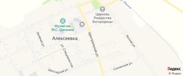 Центральная улица на карте села Алексеевки с номерами домов