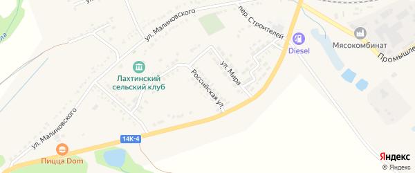 Российская улица на карте поселка Томаровка с номерами домов