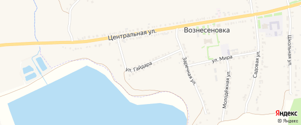 Улица Гайдара на карте села Вознесеновки с номерами домов
