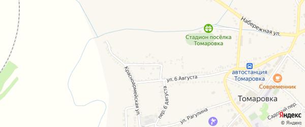 Красноармейский переулок на карте поселка Томаровка с номерами домов