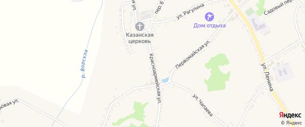 Красноармейская улица на карте поселка Томаровка с номерами домов