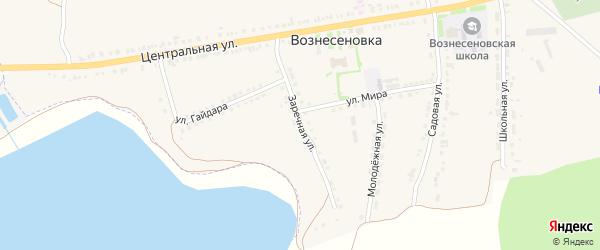 Заречная улица на карте села Вознесеновки с номерами домов