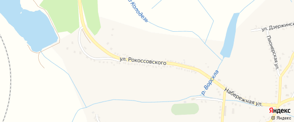 Улица Рокоссовского на карте поселка Томаровка с номерами домов