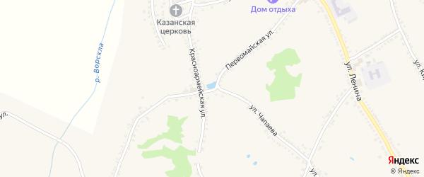 Первомайская улица на карте поселка Томаровка с номерами домов