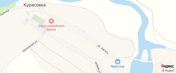 Улица Загать на карте села Курасовки с номерами домов