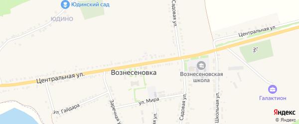 Центральная улица на карте села Вознесеновки с номерами домов