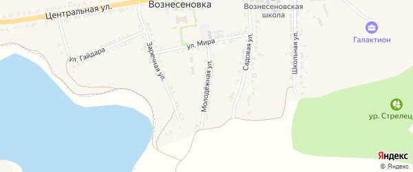 Молодежная улица на карте села Вознесеновки с номерами домов