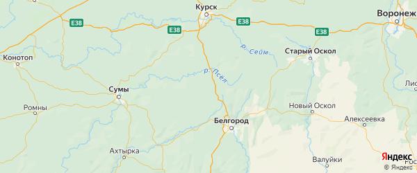 Карта Ивнянского района Белгородской области с городами и населенными пунктами