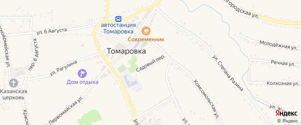 Садовый переулок на карте поселка Томаровка с номерами домов