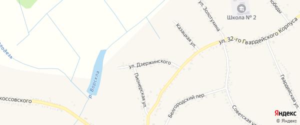 Улица Дзержинского на карте поселка Томаровка с номерами домов