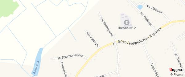 Казацкая улица на карте поселка Томаровка с номерами домов