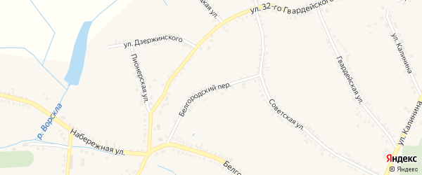 Белгородский переулок на карте поселка Томаровка с номерами домов