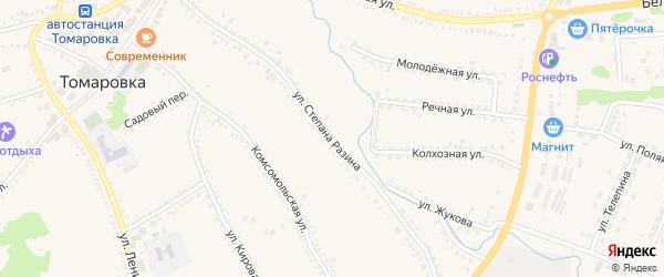 Улица Степана Разина на карте поселка Томаровка с номерами домов