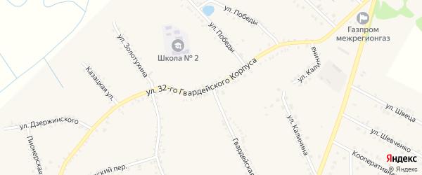 Улица 32 Гвардейского Корпуса на карте поселка Томаровка с номерами домов