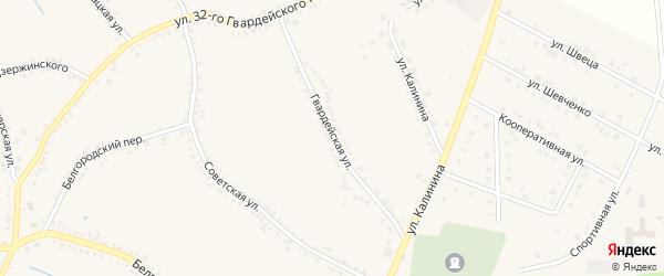 Гвардейская улица на карте поселка Томаровка с номерами домов