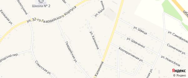 Улица Калинина на карте поселка Томаровка с номерами домов