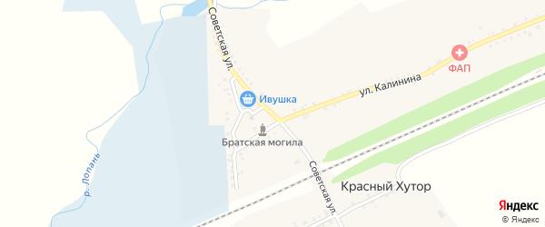Советская улица на карте села Красного Хутора с номерами домов