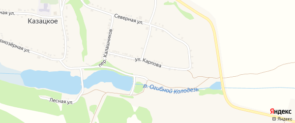 Улица Карпова на карте Казацкого села с номерами домов