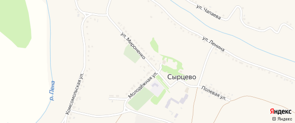 Улица Мироненко на карте села Сырцево с номерами домов