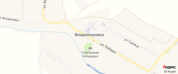 Улица Хохлотчина на карте села Владимировки с номерами домов