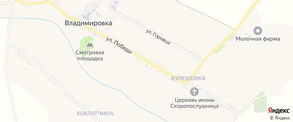 Улица Победы на карте села Владимировки с номерами домов