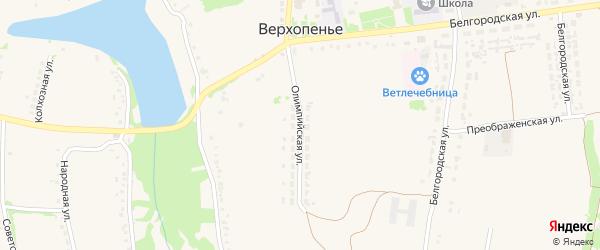 Олимпийская улица на карте села Верхопенья с номерами домов