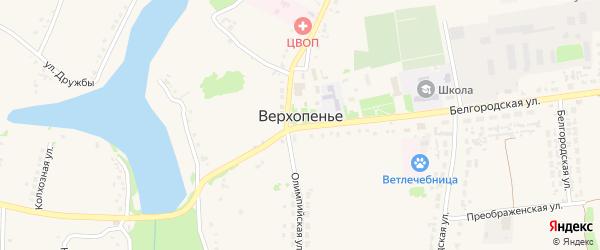 Преображенская улица на карте села Верхопенья с номерами домов