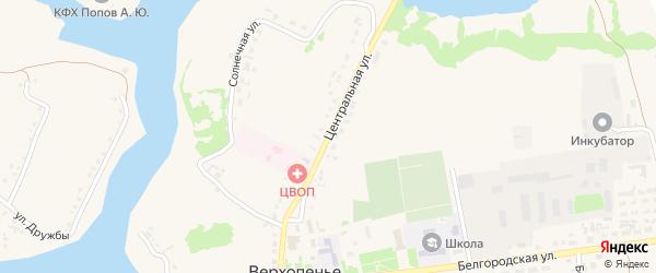 Центральная улица на карте села Верхопенья с номерами домов