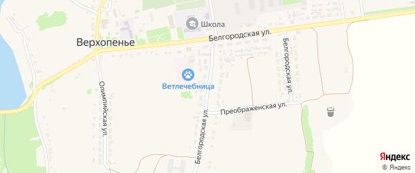 Белгородская улица на карте села Верхопенья с номерами домов