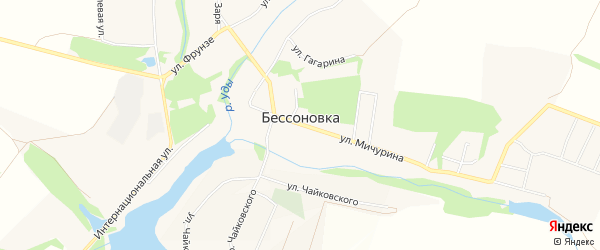 Карта села Бессоновки в Белгородской области с улицами и номерами домов