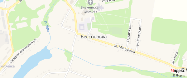 Улица Гагарина на карте села Бессоновки с номерами домов