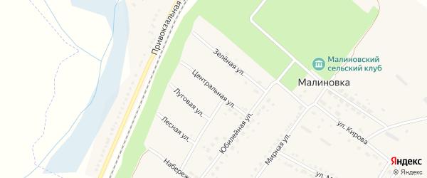 Центральная улица на карте поселка Малиновки с номерами домов